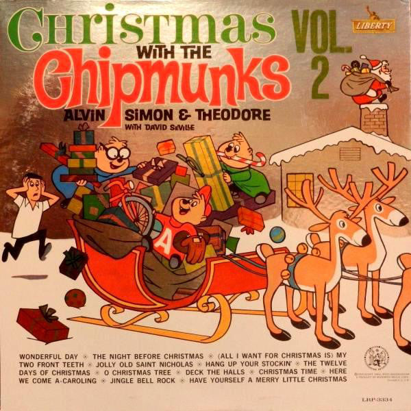 The Chipmunks : Alvin, Simon & Theodore With David Seville ‎– Christmas With The Chipmunks Vol. 2 - VG+ 1963 Stereo USA (Original Press FOIL COVER) - Holiday