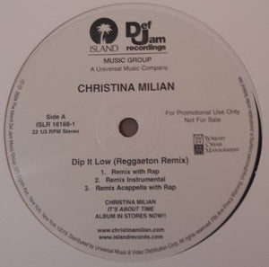"Christina Milian – Dip It Low (Reggaeton Remix) - VG+ 12"" Single USA 2004 PROMO - Hip Hop, Reggae"