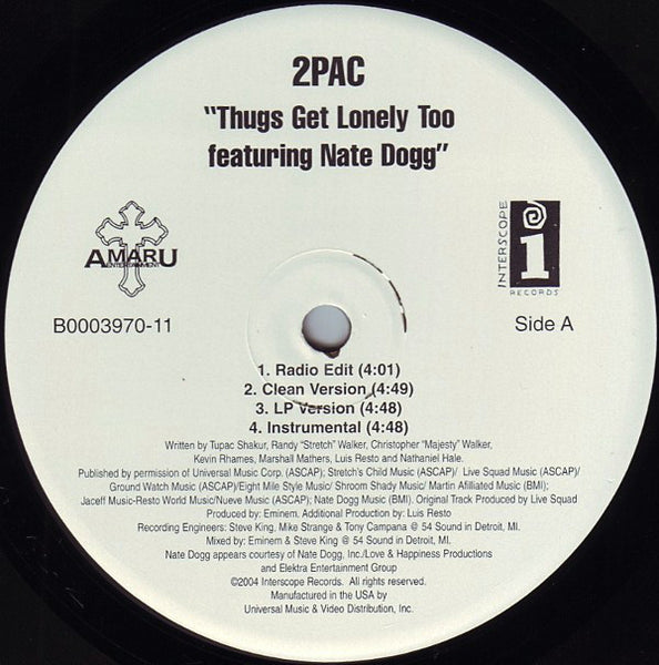 "2 Pac - Thugs Get Lonley Too / Hennessey (Red Spyda Remix) 12"" Single 2004 Interscope - Hip Hop - Shuga Records Chicago"