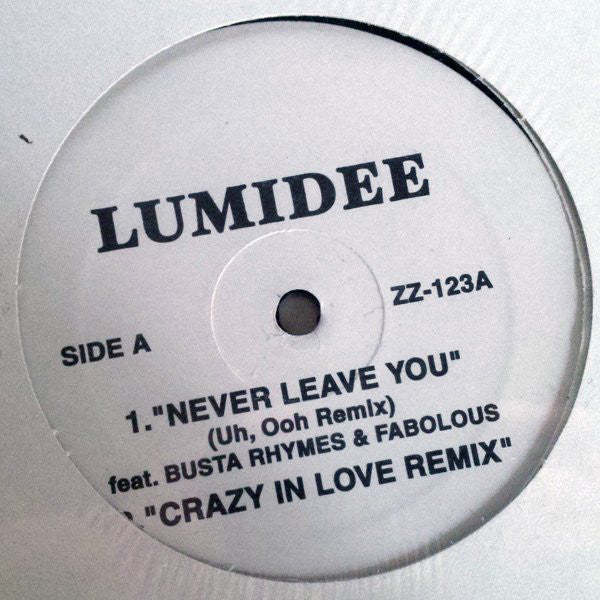 "Lumidee / Notch ‎– Never Leave You / Crazy In Love Remix - VG 12"" Single USA 2003 - Hip Hop"
