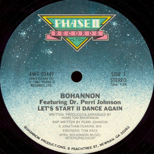 "Bohannon – Let's Start II Dance Again - VG+ 12"" Single 1981- Funk"