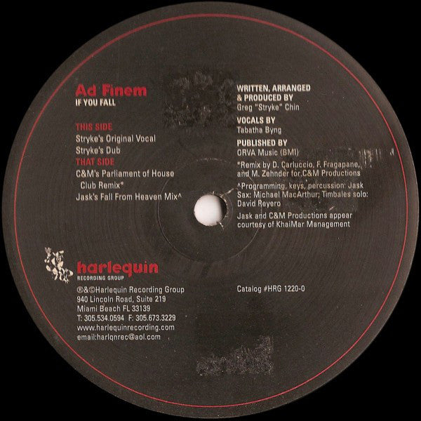 "Ad Finem – If You Fall - VG+ 12"" Single USA 2000 - House, Acid Jazz"