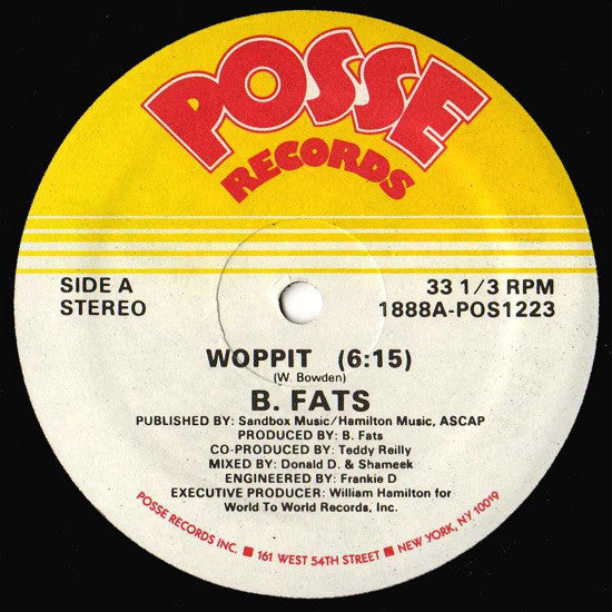 "B. Fats – Woppit - VG+ 12"" USA 1986 - Hip Hop"