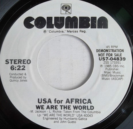 "USA For Africa ‎– We Are The World Mint- 7"" Single 45 Record 1985 USA Promo - Soul / Ballad"