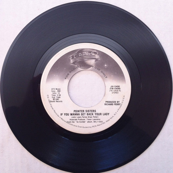 "Pointer Sisters - If You Wanna Get Back Your Lady VG+ 7"" Single 45rpm 1982 Elektra Promo - Funk / Disco"