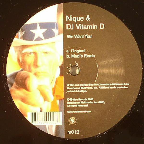 "Nique & DJ Vitamin D ‎– We Want You! - Mint- 12"" Single USA 2006 Nine Records - Chicago House"