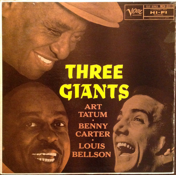Art Tatum, Benny Carter, Louis Bellson - The Three Giants VG+ - 1957 Verve Mono Black & Silver Trumpeter Lbl - Jazz - B3-047