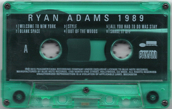Ryan Adams - 1989 - New Cassette 2015 USA Limited Green Tape - Alt-Country / Rock