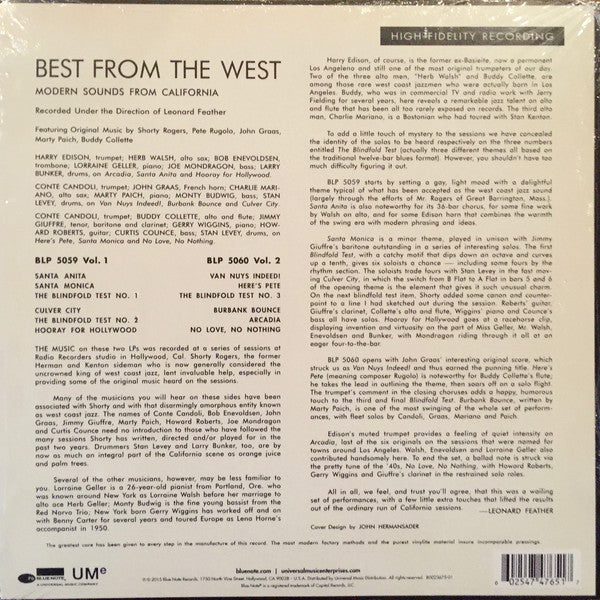 "Various ‎– Best From The West Vol. 2 • Modern Sounds From California (1955) - New 10"" Ep Record 2015 Blue Note USA Vinyl - Cool Jazz / Bop"