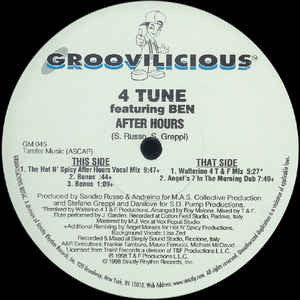 "4Tune Feat. Ben – Afterhours (Part I) - VG 12"" USA 1998 (Italy Import) - Deep House/Italodance - Shuga Records Chicago"
