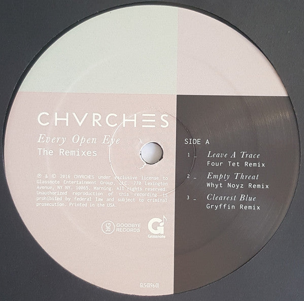 CHVRCHES - Every Open Eye: The Remixes - New Vinyl Record 2016 Glassnote Record Store Day EP, Limited to 5000 copies - Electronic / Synthpop