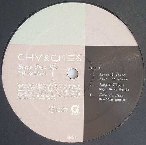 CHVRCHES - Every Open Eye: The Remixes - New Vinyl 2016 Glassnote Record Store Day EP, Limited to 5000 copies - Electronic / Synthpop