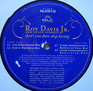 "Roy Davis Jr. & Peven Everett ‎– Don't You Dare Stop Loving - Mint- 12"" Single USA 1999 Nite Life Collective Vinyl - Chicago House"