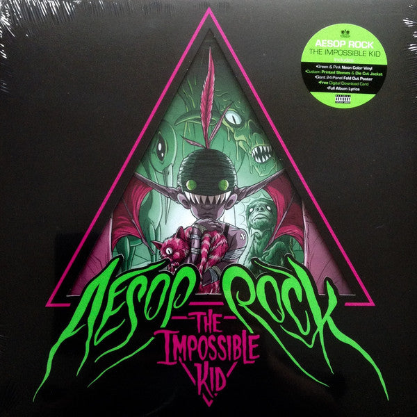 Aesop Rock - The Impossible Kid - New 2 Lp Record 2016 USA Green & Pink Neon Vinyl & Poster & Download - Rap / Hip Hop