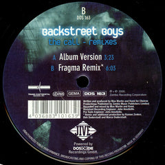 "Backstreet Boys – The Call - Remixes - New 12"" Progressive Trance (Germany) 2000"