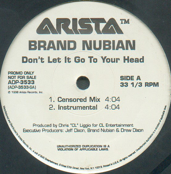 "Brand Nubian ‎– Don't Let It Go To Your Head - VG+ 12"" Single Record 1998 USA Promo - Hip Hop"