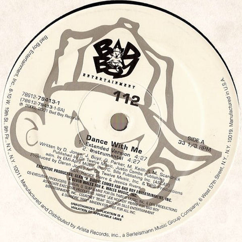 "112 - Dance With Me 12"" Single 2001 Bad Boy - Hip Hop - Shuga Records Chicago"
