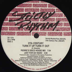 "27th Century – Turn It Up / Turn It Out - VG+ 12"" Single 1992 USA - House - Shuga Records Chicago"