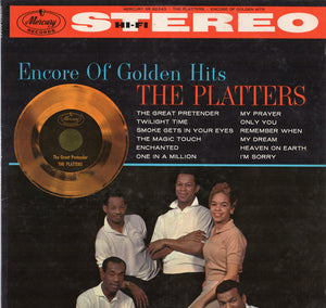 The Platters ‎– Encore Of Golden Hits VG+ Lp Record 1960 USA Stereo Original Vinyl - R&B / Soul