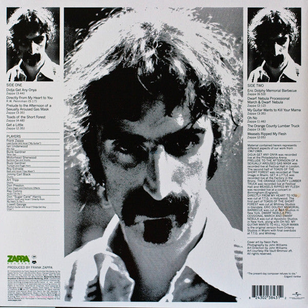 Frank Zappa / The Mothers Of Invention ‎– Weasels Ripped My Flesh (1970) - New Lp Record 2016 Zappa Europe Import 180 gram Vinyl - Rock / Fusion / Avantgarde