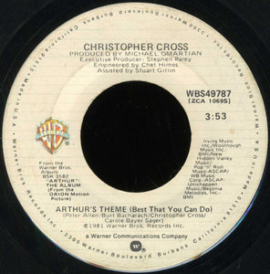 "Christopher Cross- Arthur's Theme (Best That You Can Do) / Minstrel Gigolo- VG+ 7"" Single 45RPM- 1981 Warner Bros. Records USA- Rock"