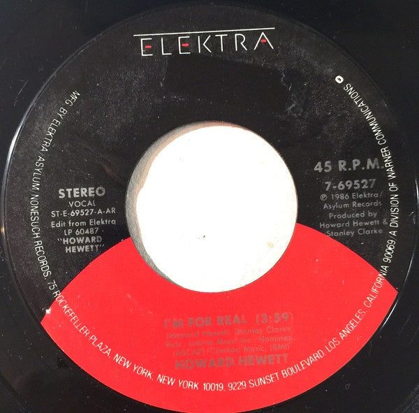 "Howard Hewett- I'm For Real / Eye On You- VG+ 7"" SIngle 45RPM- 1986 Elektra USA- Funk/Soul"