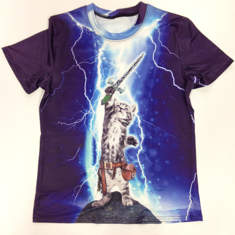 Cat in Lightning w/Sword - 88% Polyester / 12% Spandex Blend T-Shirt