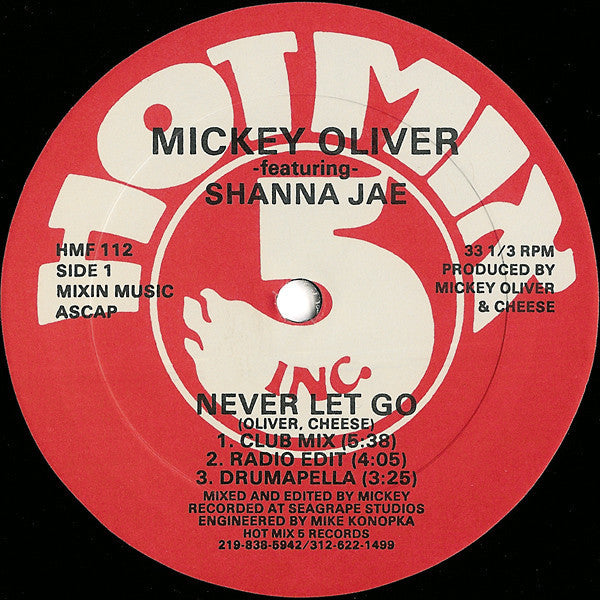 "Mickey Oliver Featuring Shanna Jae - Never Let Go - VG+ 12"" Single 1988 USA - Chicago House"