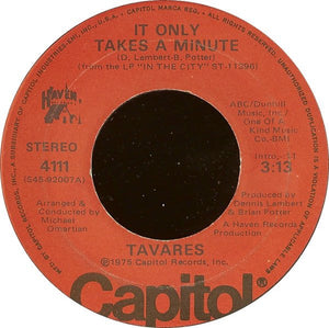 "Tavares ‎– It Only Takes A Minute / I Hope She Chooses Me VG+ 7"" Single 45 Record 1975 Capitol USA - Funk / Soul"
