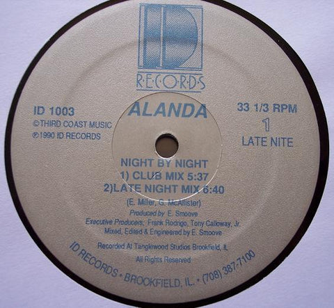 "Alanda ‎– Night By Night - VG+ 12"" Single Record 1990 ID USA Vinyl - Chicago House"