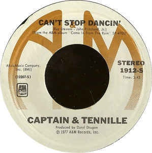 "Captain & Tennille ‎- Can't Stop Dancin' - Mint- 7"" Single 45 RPM 1977 USA - Rock / Pop"