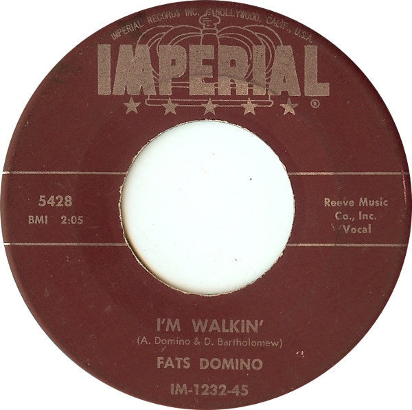 "Fats Domino - I'm Walkin' / I'm In The Mood For Love - VG+ 7"" Single 45RPM 1957 Imperial USA - Blues"