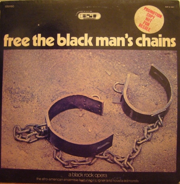 The Afro-American Ensemble Featuring L.C. Grier And Novella Edmonds ‎– Free The Black Man's Chains: A Black Rock Opera - VG+ Lp Record 1972 USA White Label Promo Original Vinyl - Jazz