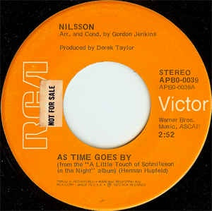 "Nilsson- As Time Goes By / Lullaby In Ragtime- VG 7"" Single 45RPM- 1973 RCA Victor USA- Rock/Pop"