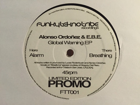 "Alonso Ordonez & E.B.E. ‎– Global Warming Ep - VG+ 12"" Single Record 2005 Funky Tekno Tribe USA Promo Vinyl - Acid House / Techno"