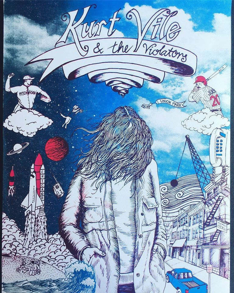 "18"" x 24"" Kurt Vile - Pitchfork 2019 Chicago - Starman Press Screen Print Poster"