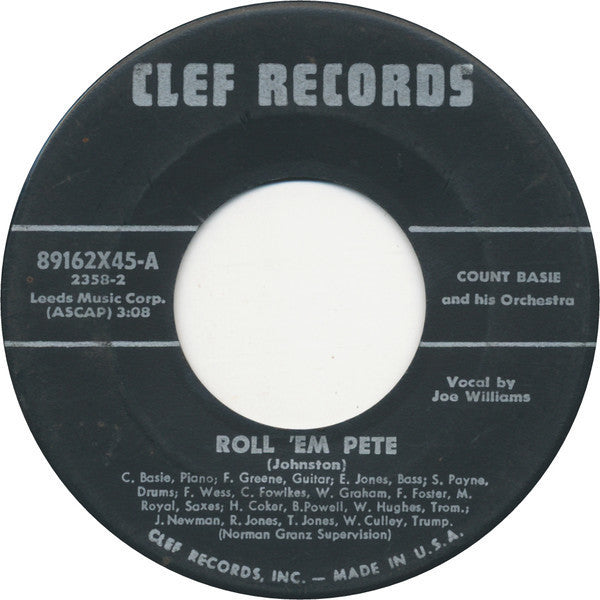 "Count Basie And His Orchestra - Roll 'Em Pete / April In Paris VG - 7"" Single 45RPM 1955 Clef USA - Jazz"