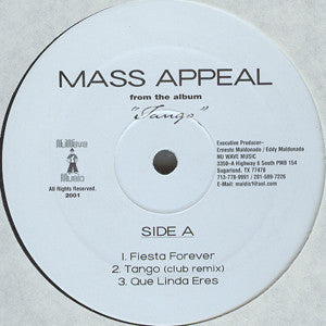 "Mass Appeal - Fiesta Forever Mint- - 12"" Single 2001 Nu Wave USA - House"
