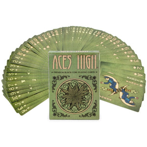 54-card deck of Aces High Premium WEED GREEN Playing Cards, Black Core, Plastic-Coated, Poker Wide Size, Standard Index
