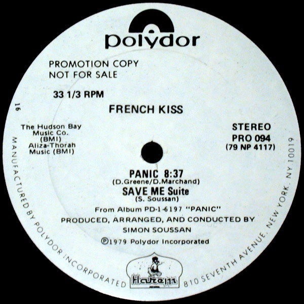 "French Kiss ‎- Panic / Save Me (Suite) - VG+ 12"" Single White Label Promo 1979 USA - Disco"