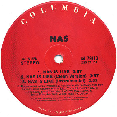 "Nas - Nas Is Like / Dr. Knockboots VG+ - 12"" Single 1999 Columbia USA 44 79113 - Hip Hop"