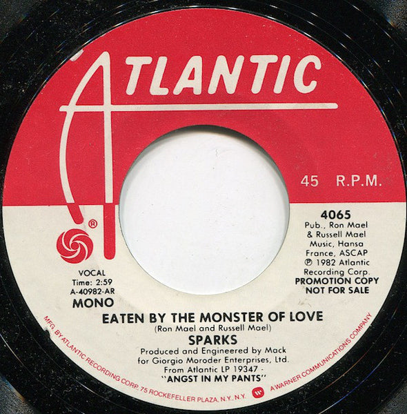 "Sparks - Eaten By The Monster Of Love Stereo/Mono Promo Mint- - 7"" Single 45RPM 1982 Atlantic USA - Rock"