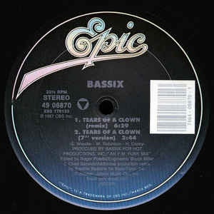 "Bassix ‎– Tears Of A Clown / Fake 'N' Move - Mint- 12"" Single Record - 1987 USA Epic Vinyl - House / Synth-pop"