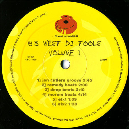Various - 83 West DJ Tools Volume 1 - VG+ 1999 Canada Import - DJ Tools/Breaks
