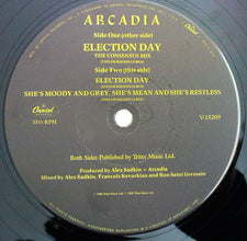 "Arcadia - Election Day (The Consensus Mix) VG+ - 12"" Single 1985 Capitol USA - Synth-Pop"