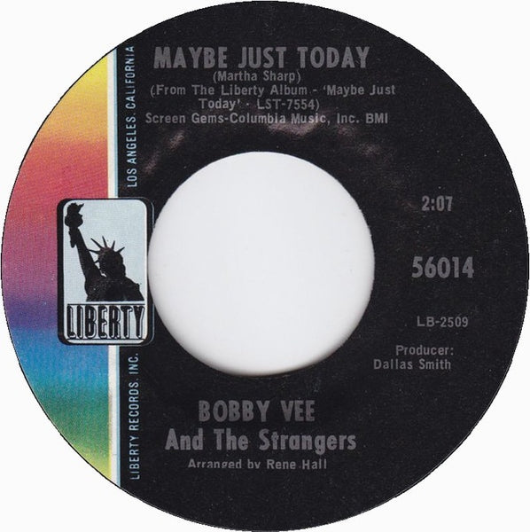 "Bobby Vee- Maybe Just Today / You're A Big Girl Now- VG+ 7"" Single 45RPM- 1968 Liberty USA- Rock/Pop"