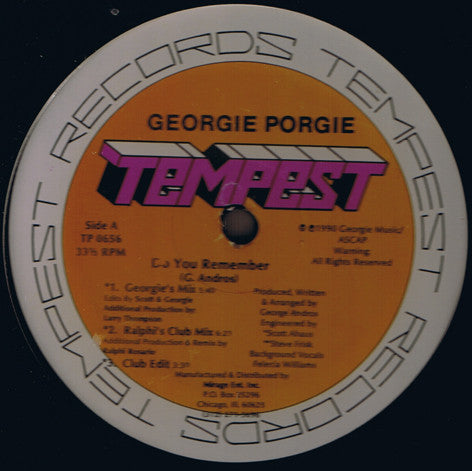 "Georgie Porgie - Do You Remember - VG 12"" Single USA 1990 (Original Press) - Chicago House"