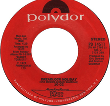 10cc ‎– Dreadlock Holiday Nothing Can Move Me - VG+ 45rpm 1978 USA Polydor Records - Rock / Pop