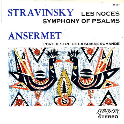 Ansermet – Stravinsky Les Noces / Symphony Of Psalms VG+ 1961 Stereo UK Import Lp Records - Classical