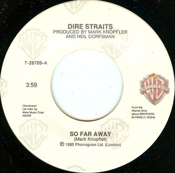 Dire Straits ‎– So Far Away - Mint- 45rpm 1985 Warner Bros. Records - Rock